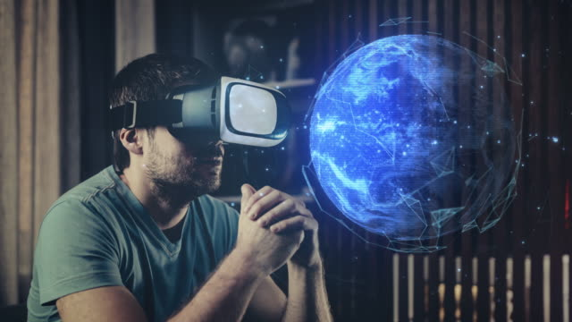 erforschung des planeten erde in virtual reality brillen - astronomie stock-videos und b-roll-filmmaterial