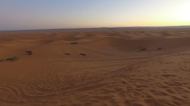 die dünen der sahara bei sonnenaufgang erkunden - erg chebbi desert - pjphoto69 stock-videos und b-roll-filmmaterial
