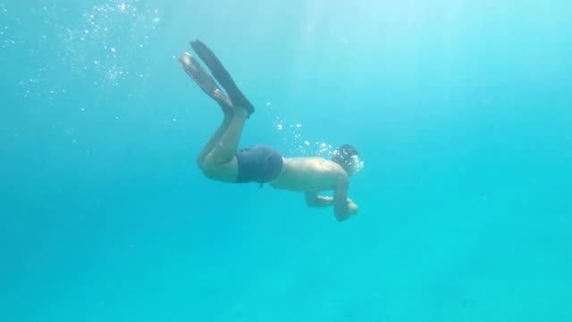 exploring the undersea world - free diving stock videos & royalty-free footage