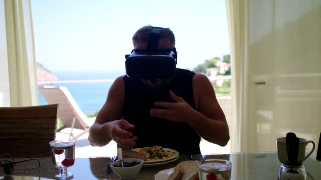 exploring virtual food. smart glasses at breakfast - arms outstretched stock videos and b-roll footage