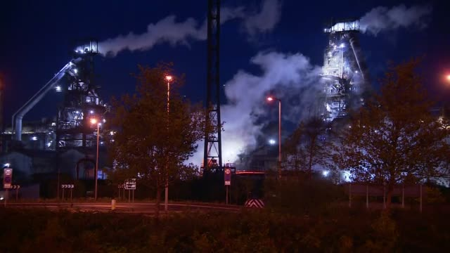 explosion at tata steel plant in port talbot wales port talbot various of tata steelworks before the explosion - steel stock videos & royalty-free footage