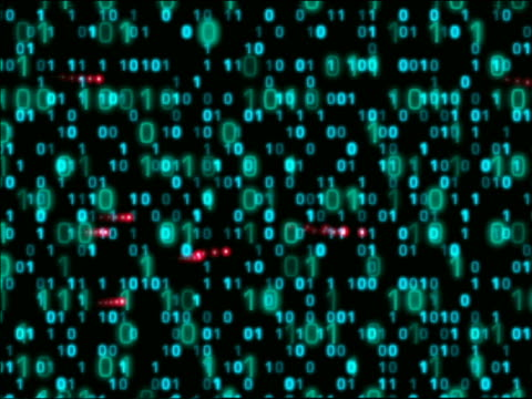 vídeos de stock e filmes b-roll de cgi explosion of purple light to reveal various layers of binary numbers + red lights passing by - código binário