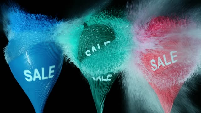 slo mo explosion of three sale balloons filled with water - sale stock videos & royalty-free footage