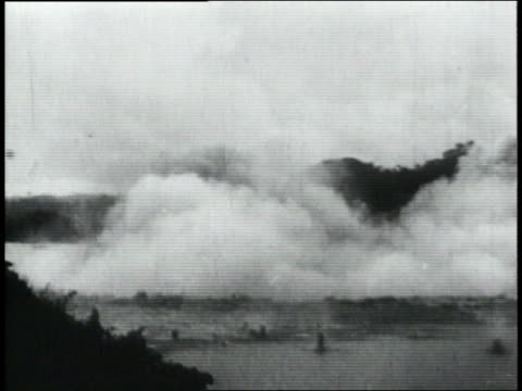 ws explosion sending dirt and smoke into the air / republic of panama - anno 1906 video stock e b–roll