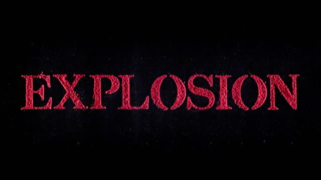 Explosion written in red powder exploding in slow motion.