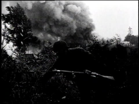explosions and smoke / soldier advancing from trench / soldiers in field / soldier in trench / tank advancing / soldier in trench / soldier with... - normandy stock videos & royalty-free footage