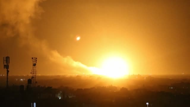 explosions are seen from rafah city in the south of gaza - air raid stock videos & royalty-free footage