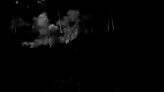 vídeos de stock, filmes e b-roll de explosions flash and smoke billows in an airfield during an air raid. - air raid