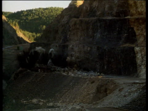 Explosive charges going off in quarry