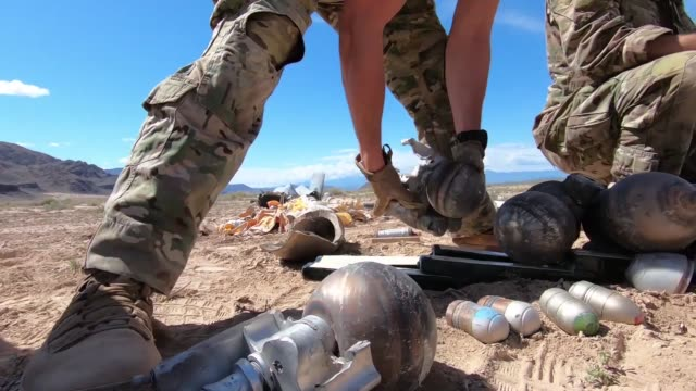 explosive ordnance disposal airmen conduct range clearance operations on the nevada test and training range nevada - disposal stock videos and b-roll footage