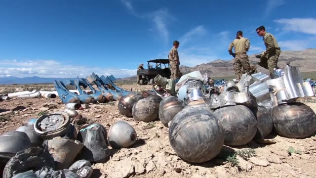 explosive ordnance disposal airmen conduct range clearance operations on the nevada test and training range nevada - nevada stock videos & royalty-free footage