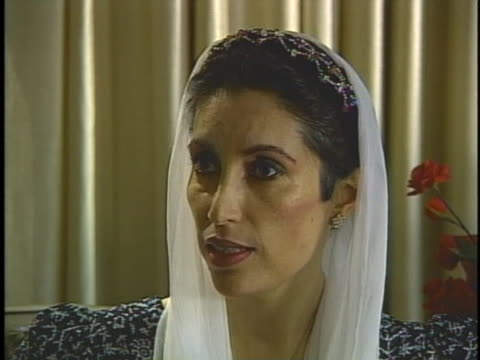 ex-premier and former prime minister benazir bhutto discusses the protests across pakistan after her ouster. - (war or terrorism or election or government or illness or news event or speech or politics or politician or conflict or military or extreme weather or business or economy) and not usa stock videos & royalty-free footage