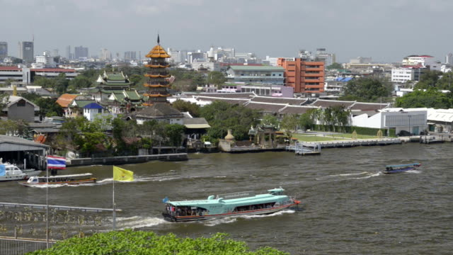 Express boat and Long-tail boat passes by a temple on Chao Phraya River