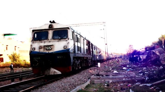 Express train running on railroad track