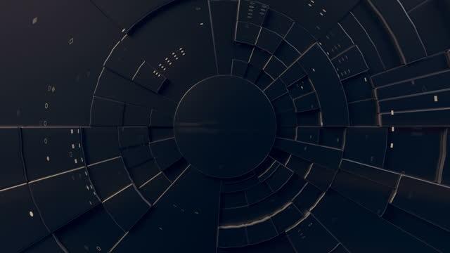 vidéos et rushes de mouvement expressif d'un motif géométrique circulaire foncé au centre de l'écran. motion graphic design. animation numérique en boucle transparente. rendu 3d. résolution hd - élément graphique