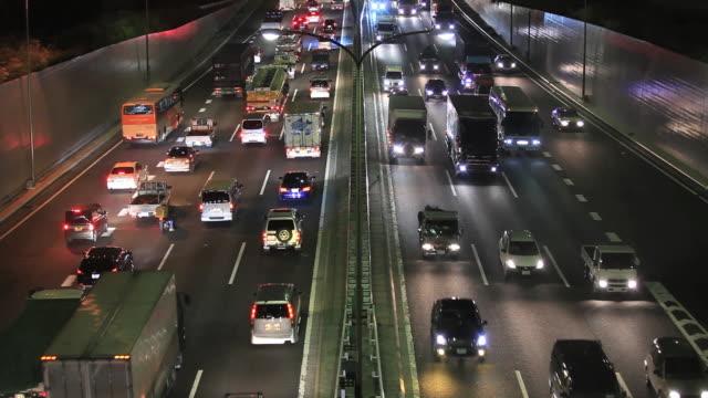 WS Expressway of traffic jam at night / Minato, Tokyo, Japan