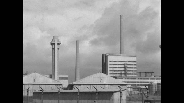 ext calder hall power station and windscale pile chimneys; 1956 - 1956 stock videos & royalty-free footage