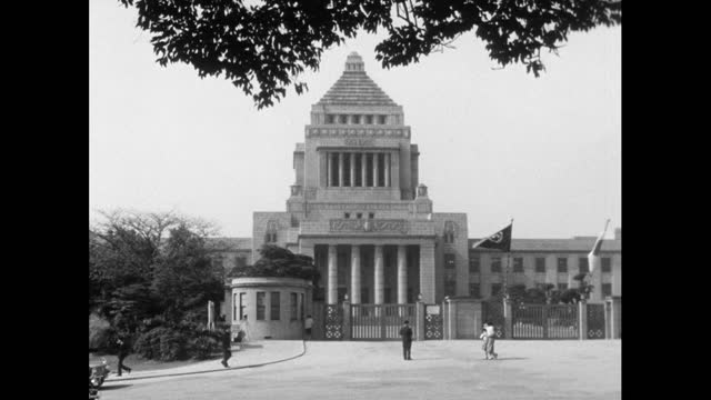 ext ws of national diet building in tokyo; 1964 - parliament building stock videos & royalty-free footage