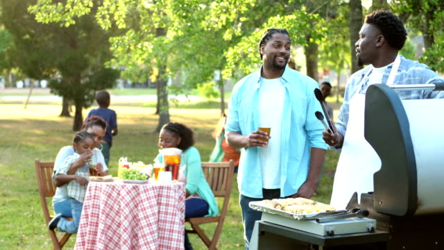 extended african-american family having cookout - grilled stock videos and b-roll footage