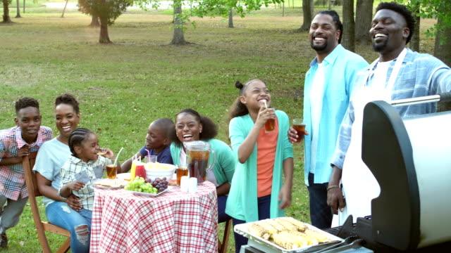 vídeos y material grabado en eventos de stock de familia afroamericana con comida al aire libre - 30 39 years