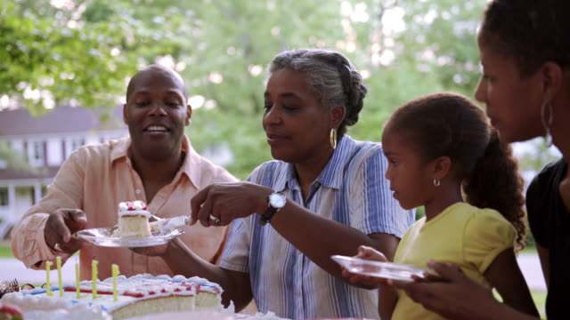 extended family celebrating at picnic with cake - 50 59 years stock videos & royalty-free footage