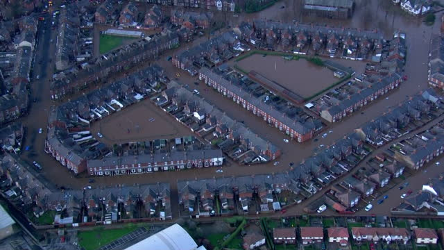Extensive flooding in the North West of England Shows exterior aerial shots flood water in residential streets of Carlisle on December 06 2015 in...