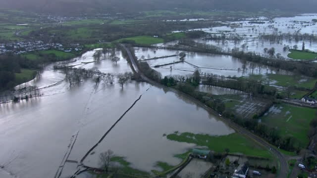 Extensive flooding in the North West of England Shows exterior shots aerials flooded fields in the countryside on December 06 2015 in Keswick England