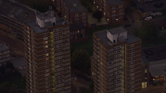 exterior aerial night shots council estate tower blocks blocks of flats on the kipling estate on october 27 2016 in london england - blocking stock videos and b-roll footage