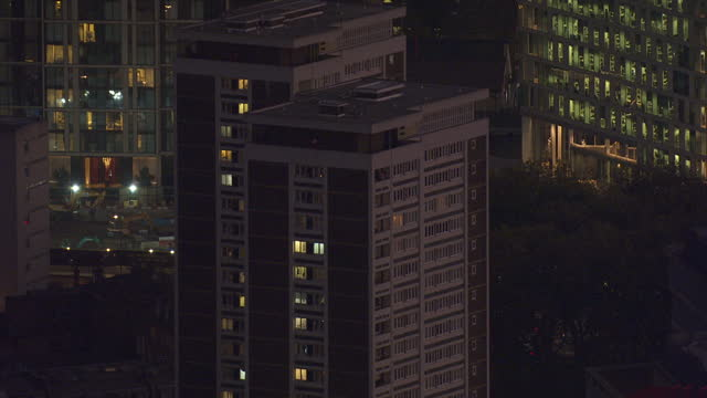 exterior aerial night shots council estate tower blocks blocks of flats next to city of westminster college on october 27 2016 in london england - blocking stock videos and b-roll footage