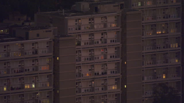 exterior aerial night shots maida vale council estate tower blocks blocks of flats on october 27 2016 in london england - blocking stock videos and b-roll footage