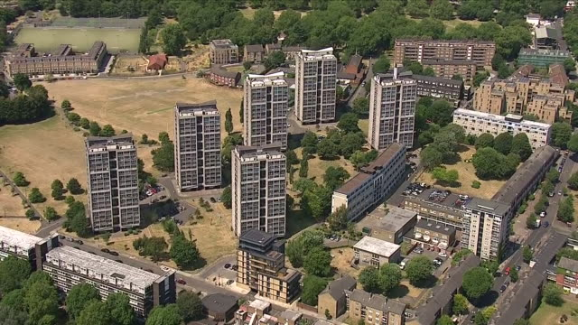 Exterior aerial panning shots of the Brandon Estate a social housing estate in Southwark South London situated to the south of Kennington Park on 2...