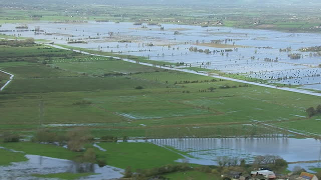 exterior aerial shots across flooded fields & countryside in cornwall extensive flooding aerials across wiltshire on november 25, 2012 in malmesbury,... - wiltshire stock videos & royalty-free footage