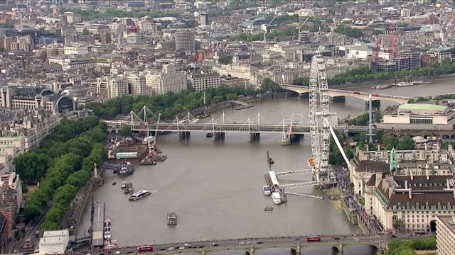 Exterior aerial shots along the River Thames passing the London Eye Shard Tower Bridge City of London on 8 August 2018 in London United Kingdom