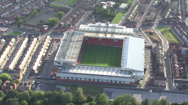 exterior aerial shots anfield stadium home of liverpool football club anfield stadium aerials on october 07 2010 in liverpool england - liverpool england stock-videos und b-roll-filmmaterial