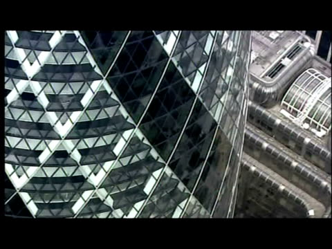 exterior aerial shots central london financial district including gherkin building tower 42 bank of england - swiss re stock videos & royalty-free footage