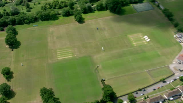 Exterior aerial shots cricket field pitches on sunny day Aerial Shots of Cricket Field on June 08 2011 in London England