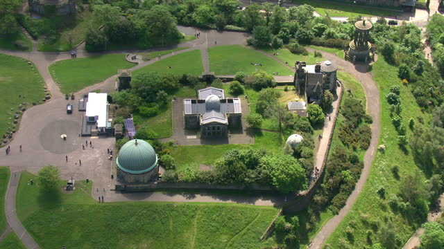 exterior aerial shots edinburgh city observatory on calton hill located next to the national monument of scotland on february 23 2014 in edinburgh... - calton hill national monument stock videos and b-roll footage
