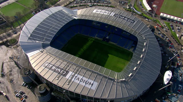 exterior aerial shots etihad stadium home of manchester city football club who play in the english premier league. on february 10, 2016 in... - hitting stock videos & royalty-free footage