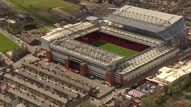 exterior aerial shots flower memorial for the hillsborough victims outside anfield football stadium, home to liverpool fc on day the hillsborough... - hillsborough stadium stock videos & royalty-free footage