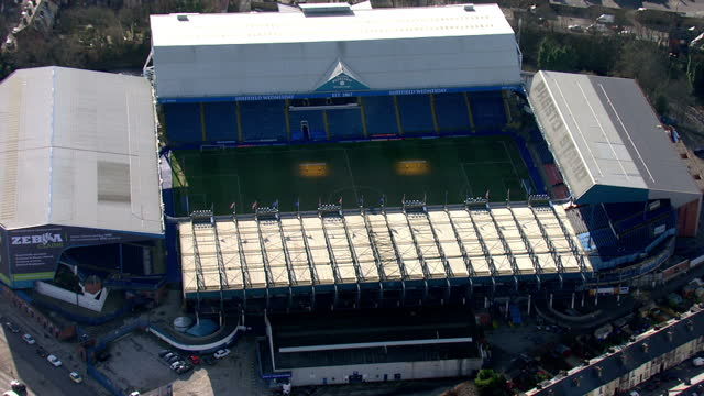 exterior aerial shots hillsborough stadium home of sheffield wednesday football club who play in the sky bet efl championship. on february 10, 2016... - hillsborough stadium stock videos & royalty-free footage