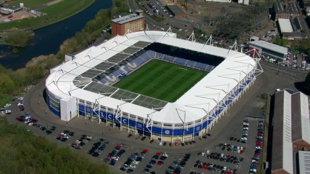 exterior aerial shots king power football stadium home to leicester city football club on april 20 2016 in leicester england - leicester stock videos & royalty-free footage