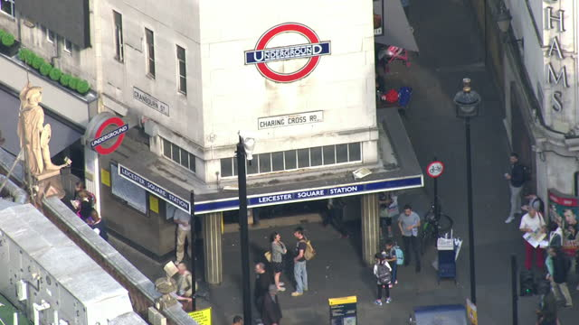exterior aerial shots leicester square london underground station. on july 08, 2015 in london, england. - leicester square stock videos & royalty-free footage