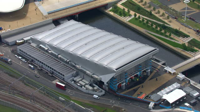 exterior aerial shots london 2012 olympics water polo arena sky news 2012 olympics coverage on july 12 2012 in london england - ロンドン ストラトフォード点の映像素材/bロール