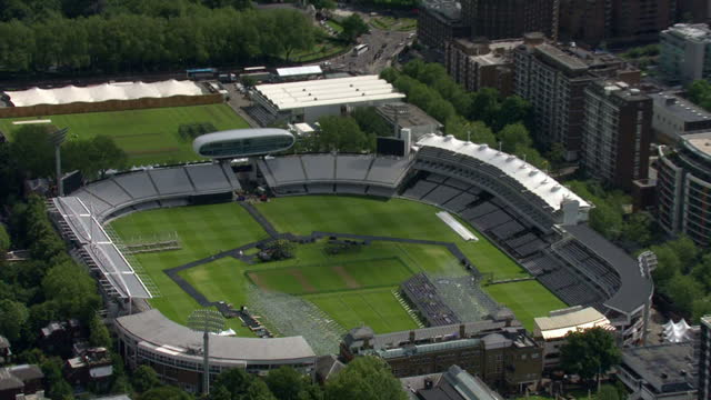 exterior aerial shots lords cricket ground venue for the olympic archery event sky news 2012 olympics coverage on july 12 2012 in london england - lords cricket ground stock videos and b-roll footage