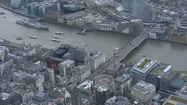 Exterior aerial shots of a flotilla of boats along the River Thames in a wreath laying ceremony to mark 50 years since his funeral on January 30 2015...