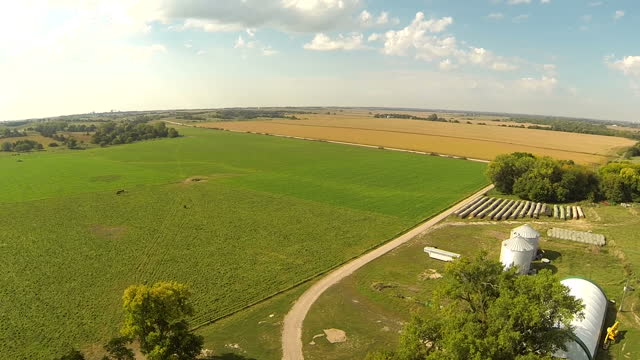 exterior aerial shots of a nebraskan farm, with fields of maize, farm buildings and trees on september 19, 2014 in washington, dc. - willie nelson stock-videos und b-roll-filmmaterial