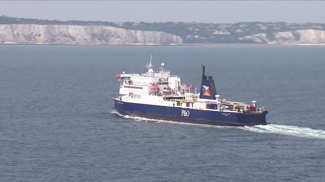 Exterior aerial shots of a PO cross channel ferry at sea approaching the port of Dover on 8 June 2018 in Dover United Kingdom
