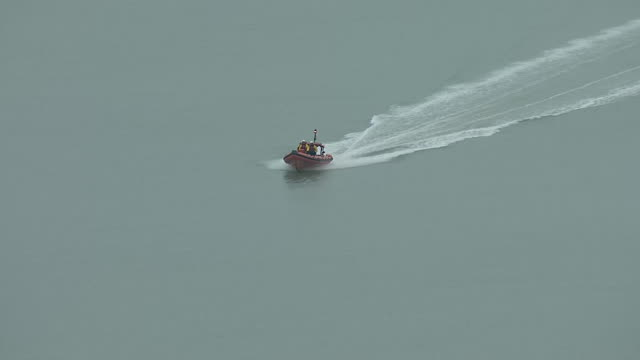 Exterior aerial shots of an RNLI lifeboat at sea off the Kent coastline after a boat containing nine migrants was discovered on 31 December 2018 in...