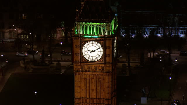 Exterior aerial shots of Big Ben and the London Eye illuminated at night time on March 26 2015 in London England