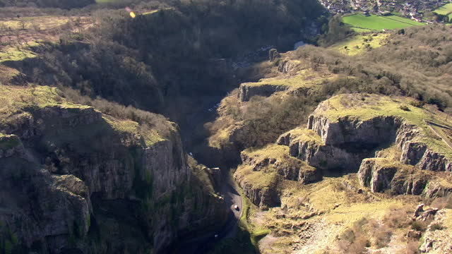 exterior aerial shots of cheddar gorge on 7 february 2018 in england. - cheddar gorge stock videos & royalty-free footage